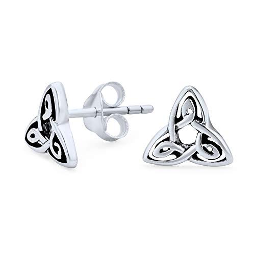 Winzige Irische Triquetra Keltische Trinity Knoten Kleine Ohrstecker Für Frauen Für Männer Oxidiert 925 Sterling Silber