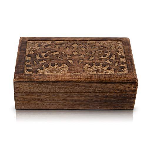 Birthday Gifts Handmade Decorative Wooden Jewelry Box With Tree Of Life Carving Jewelry Organizer Keepsake Box Treasure Chest Trinket Holder Watch Box Storage Lock Box 8 x 5 Inches Housewarming Gifts