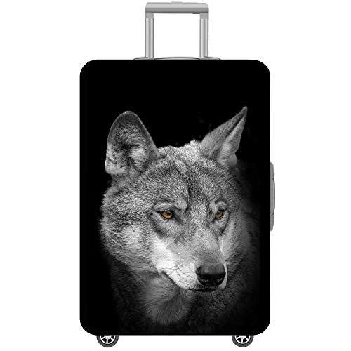 Washable Spandex Travel Suitcase Luggage Bag Cover Protector Fits 26/27/28 Suitcase Sleeve Wolf with Luggage Strap Belt Size L