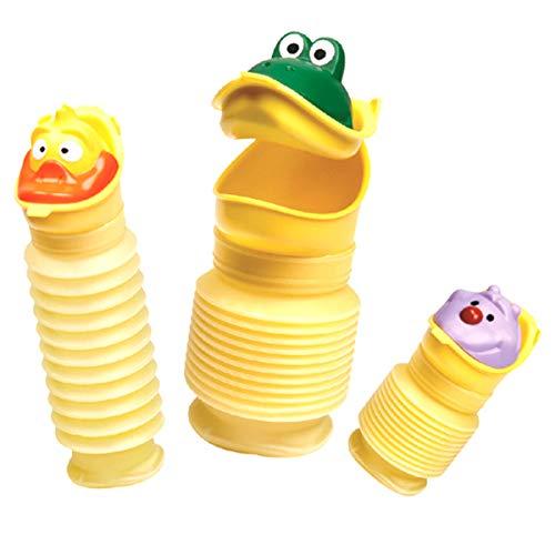 YOPOTIKA Orinal portátil elástico para bebés, niños, camping, orinal de viaje, urinario de emergencia, para niñas y niños, con tres cabezas de dibujos animados diferentes (420 ml)
