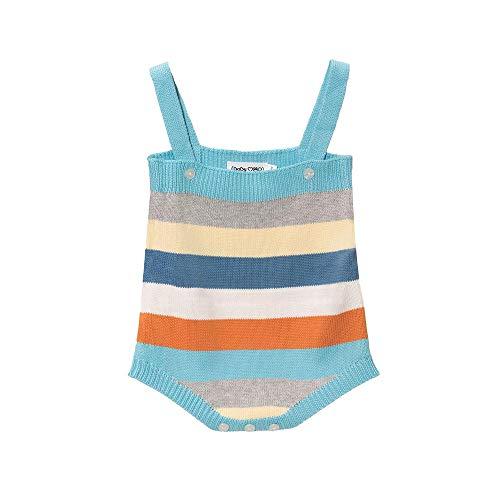 Baby Mood Pelele de colores con cuello cuadrado y tirantes con cierre mediante la parte delantera, cierre con botones en la parte inferior, 100% algodón para niño. multicolor 12- 18 meses