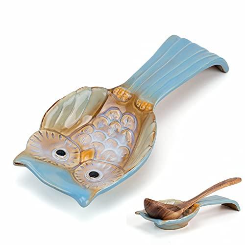 SOPRETY Vassoio per cucchiai in ceramica – Posate – Posate – Vassoio per posate – Porta utensili da cucina per mestolo – Supporto per utensili per cucina ristorante 3D a forma di gufo 24 cm