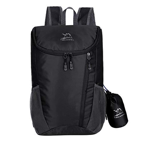 HENWERD Lightweight Fold Backpack Durable Water Resistant Outdoor Daypack for Women Men (Black)
