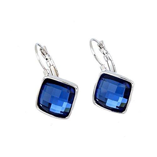 Crystals from Swarovski Zafiro simulado azul Rombo Cuadrado Pendientes 18k Chapado en oro blanco
