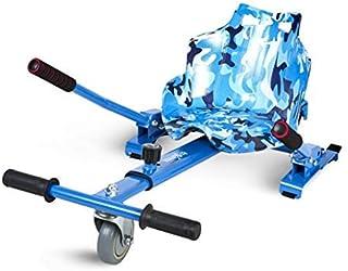 ECOXTREM Hoverkart, Asiento Kart, Azul diseño Militar, con manillares Laterales, Barra Ajustable. Accesorio para patinetes eléctricos Hoverboard 6'5