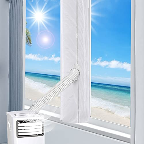 Punvot Sello de Ventana para Aire Acondicionado Portátil 4M, Aislamiento Ventana Aire Acondicionado, Adaptador Ventana Aire Acondicionado Impermeable, Anti UV, Anti-Mosquitos, con Dual Cremallera