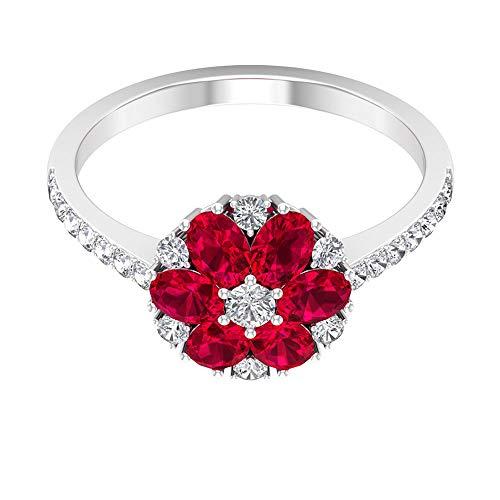 Rosec Jewels 18 quilates oro amarillo ovalada round-brilliant-shape H-I Red Diamond Ruby
