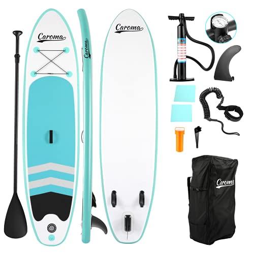 Kit de surf de pala inflable de alta calidad de SUP, 15,24 cm de grosor, 27 cm de largo, pala ajustable, mochila de transporte, bomba manual, correa de seguridad para el tobillo, azul claro