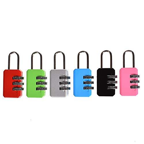 Candado de combinación de código reajustable de 3 dígitos, 1 candado resistente a la intemperie, para maletas de viaje, maletas, etc. (negro/gris/azul/rosa/rojo/verde)