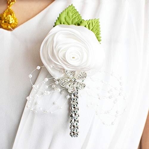ADSIKOOJF Beste Man Groom Boutonniere Satijn Rose Mannen Buttonhole Bruiloft Party Prom Man Pak Corsage Pin Broche