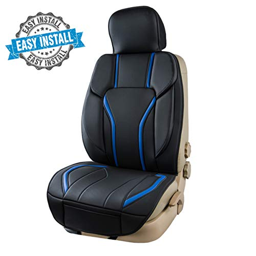 CAR PASS Universal Fit Sporty Leather Easy Install Sidelss Car Seat Cover, Seat Cushion,Fit for suvs,Vans,sedans,Truck (Black and Blue)