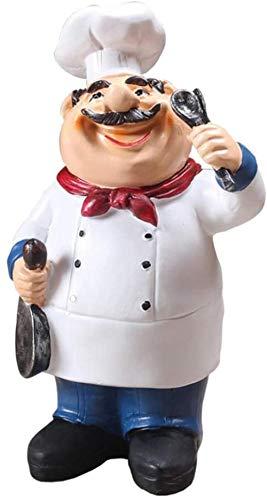 Buzhidao Cheaaff Hogar Cocina Bar Restaurante Decoración Adorno Figura Estatua Chef Estatua-Frutas-Cuchara