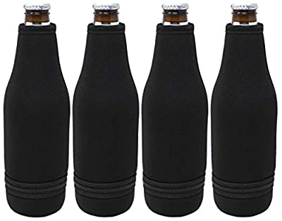 TahoeBay Beer Bottle Sleeves - Easy-On Bottom Zipper - Extra Thick Neoprene Blank Drink Cooler