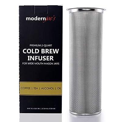 Premium Infuseur à froid machine à café pour 1ou 2Qt Wide Mouth Mason bocaux par Joe moderne pour femme. Idéal pour thé et café de glace. Heavy Duty 50micron en maille fine en acier inoxydable 304avec gratuit Joint en silicone