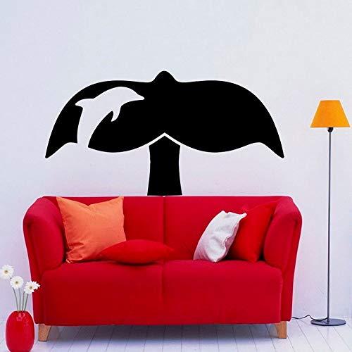 HGFDHG Calcomanía de Pared de Cola de Ballena Creativo Animal Marino Puerta Ventana Vinilo Pegatina niños Dormitorio baño decoración del hogar Mural