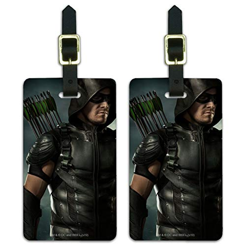 Arrow TV Series Character Art Luggage ID Tags Suitcase Carry-On Cards - Set of 2