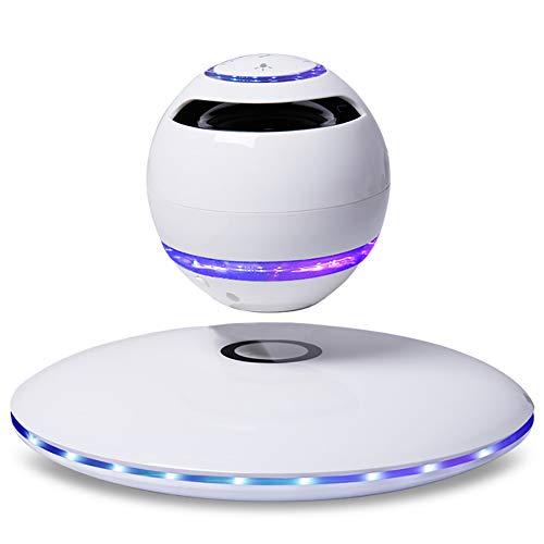 Light Levitating Schwebender Lautsprecher mit Bluetooth 4.0 Multifarben LED Kabellos 360° mit Mikrofon,Weiß,B