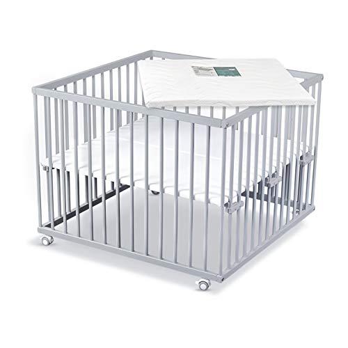Sämann Laufgitter 100x100 cm mit Matratze, TÜV geprüft 2020, stufenlos höhenverstellbar, Baby Laufstall, Buche (grau, mit Matratze)