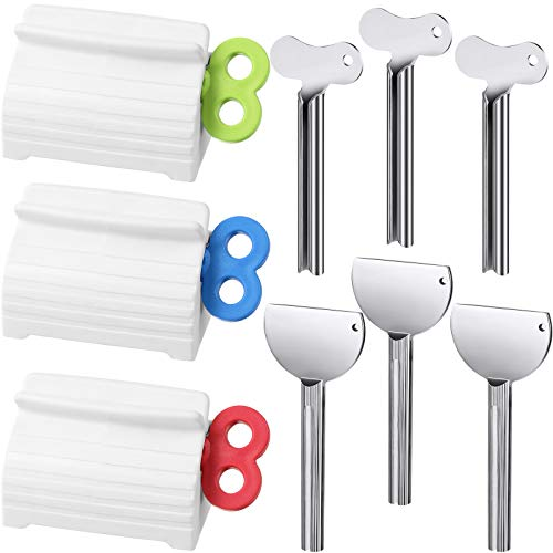 9 Pieces Toothpaste Squeezer, Multipurpose Tube Squeezer Keys Rolling Tube Presser Dispenser Bathroom Toothpaste Holder, Toothpaste/Creams/Facial Cleanser/Hair Color Dye/Oil Paint Tube Squeezer