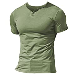 Premium Super Soft and Stretchy lightweight 95% Cotton 5% spandex (or 100% slub cotton) to make this men henley shirt with 1 or 2 or 3 buttons' placket beneath the neckline, tagless label in neck for extra comfortable. This fitted henley t shirts des...