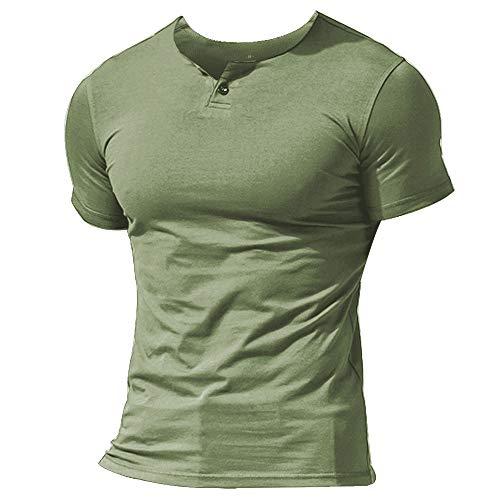 Herren Henley Beiläufig Kurzarm T-Shirt Single Taste Knopfleiste Einfacher V-Ausschnitt Hemden Baumwolle Color Grün Size Large