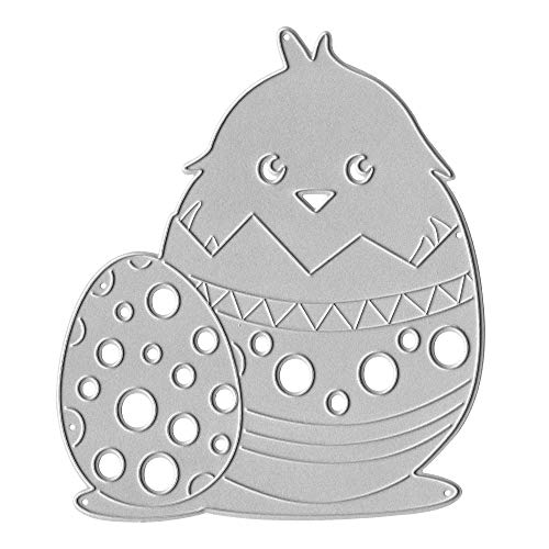 Metal Christmas Die Cuts Chick and Egg with Polka Dots Embossing Stencil Cutting Dies for Card Making Scrapbooking Paper Craft Album Stamps DIY Easter Décor
