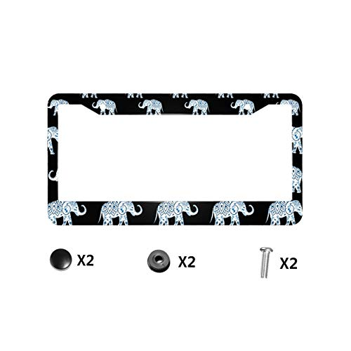 Blue Elephant Quality Aluminum License Plate Frames Novelty Car Label License Plate Covers with 2 Round Holes and Screws