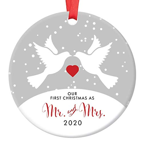 Mr & Mrs First Christmas Peace Doves Ornament 2020 Bridal Shower Wedding Gift 1st Holiday Married Couple Keepsake Newlyweds Present Collectible