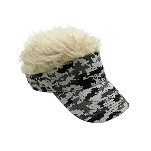 Raylans Novelty Sun Visor Cap Wig Peaked Adjustable Baseball Hat with Spiked Hair (Camouflage3)