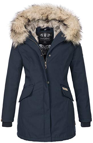 Navahoo Damen Winter Jacke Parka Mantel Winterjacke warm Kunstfell Premium B669 [B669-Christa-Navy-Gr.M]