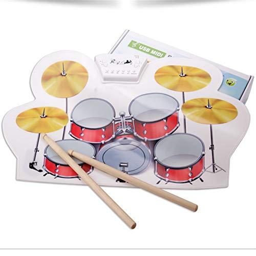 Roll Up Drum Batería electrónica enrollable Kit de batería MIDI Almohadillas eléctricas...