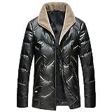 Chaqueta de plumón Blanca de 90% para Hombre, Abrigo de Parka cálido de Cuello de Lana 100% Elegante de Invierno Ink Green XL