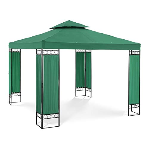 Uniprodo Garden Pavilion Outdoor Gazebo Metal Pergola Gazebo 3x3m 160g/m3 Dark Green UNI_PERGOLA_3X3GF (Powder-Coated Iron, Polyester, Total Height 2.60m)