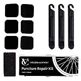 VeloChampion Glueless Kit de reparación de pinchazos: parches autoadhesivos y palancas de neumáticos para todo tipo de bicicletas