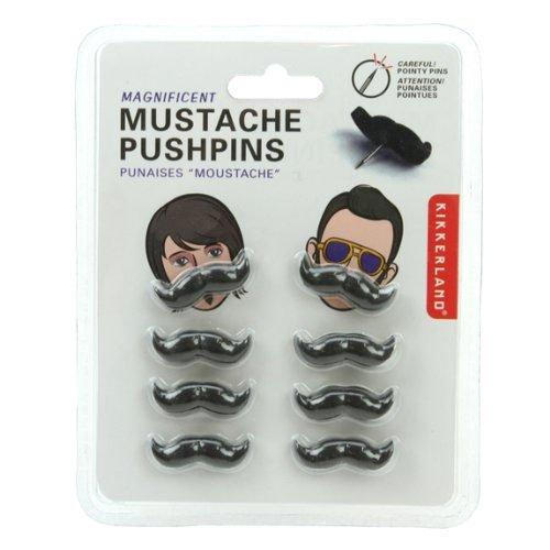 Kikkerland Mustache Push Pins, Set of 8 (ST27)