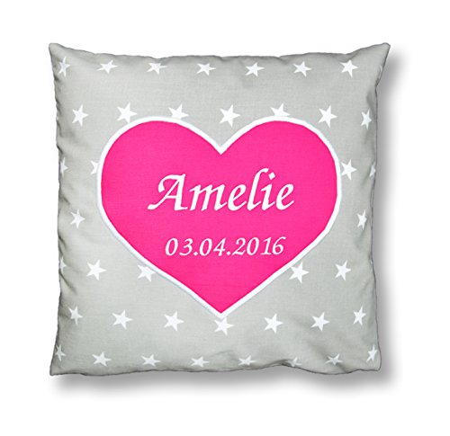 Amilian® Kissen 40 x 40 cm mit Namen Datum Sternchen Grau/ HERZ rosa