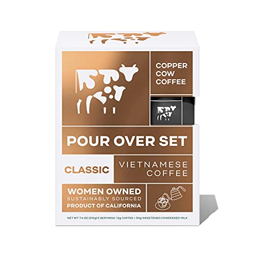 Copper Cow Coffee Vietnamese Pour Over Coffee Filters with California Sweetened Condensed Milk – Single-Serve and All-Natural Pre-Filled Coffee Filters – Classic (5 Pack)