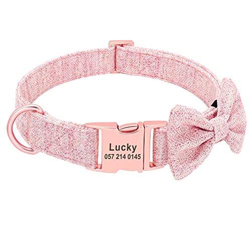 PET ARTIST Soft & Comfy Bowtie Dog Collar with Rose Gold Buckle - Personalized Dog Collar Girl with Name Plate Engraved - Adjustable Dog Collars Pet Gift for Small Medium Large Dogs,Pink,S