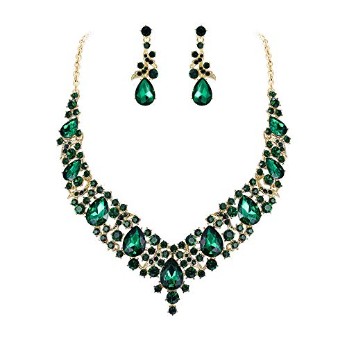 BriLove Women's Costume Elegant Crystal Teardrop Cluster Statement Necklace Dangle Earrings Set Emerald Color Gold-Toned