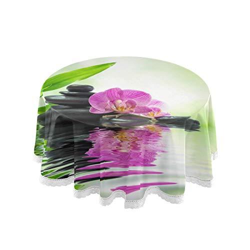 TropicalLife FELIZM Runde Tischdecke Orchidee Zen Stein Bambus Tischdecke Esstischdecke Spitze 152,4 x 152,4 cm für Zuhause, Party, Küche, Urlaub, Dekoration