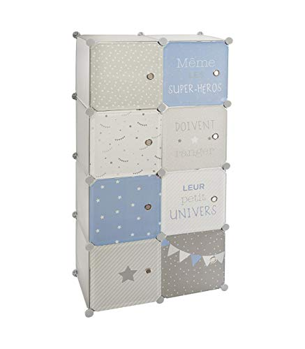 Atmosphera – Armario con almacenamiento y armario modulable para habitación infantil, 124 cm de altura, color azul