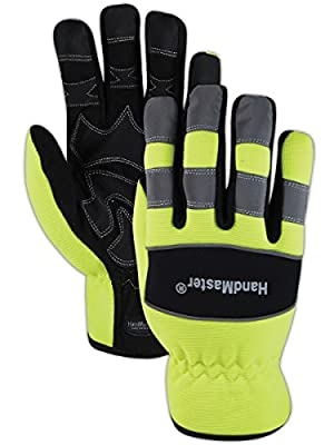 Magid Glove & Safety MECH106L HandMaster MECH106 High-Visibility Mechanics Gloves, Full Finger