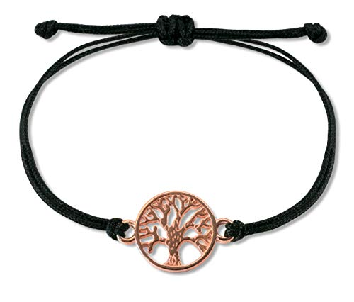 Nuoli Lebensbaum Armband Rosegold, schwarzes Textil Band, Armband Damen größenverstellbar, Handmade in Germany, Nickelfrei
