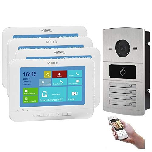 WLAN 4 familiehuis IP video intercomsysteem, inbouw-deurstation IP65, 7 inch monitor, HD-camera 130°, foto-/videogeheugen, PoE-Switch keine Kamera