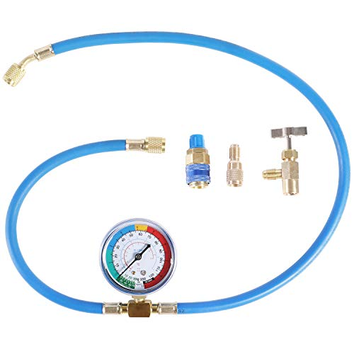 JIFETOR AC Charge Hose with Gauge for R134A R12 R22, Car HVAC Refrigerant Recharge Kit, Home Air Conditioning U Charging Hose Low Pressure Meter 1/4