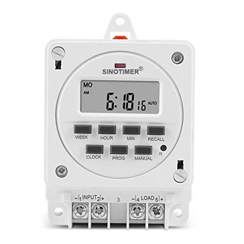 HehiFRlark DC12V AC 220V 230V Salida Digital Interruptor Temporizador programable semanal de 7 días Blanco 220V