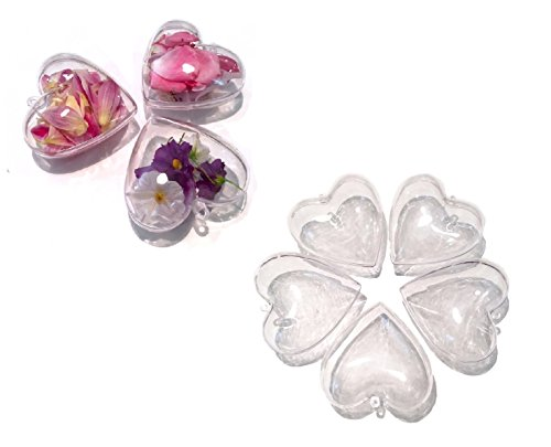 CRYSTAL KING Juego de 5 unidades de formas acrílicas con corazones divisibles, 10 cm de diámetro, bola transparente para colgar, bolas acrílicas transparentes, formas para rellenar, bolas acrílicas