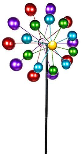Formano - Windrad für den Garten aus Metall - Windräder Windspiel Windmühle doppelt lila/blau/rot/grün - 166cm Groß