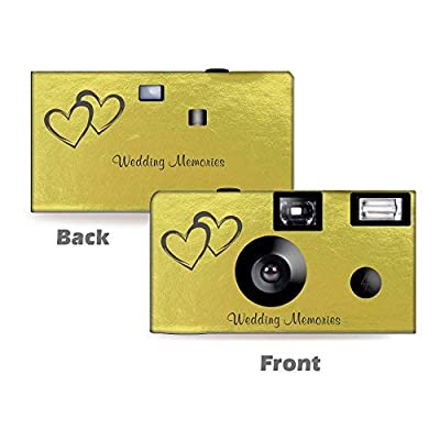 1 Gold Foil Coupled Hearts Wedding Disposable Cameras, Anniversary, Single use, Flash WM-50145-C from CustomCameraCollection