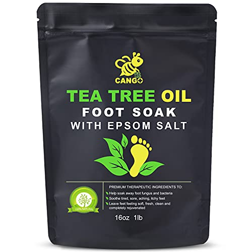 CANGO Tea Tree Oil Foot Soak with Epsom Salt, 16 Ounces, 453g Foot Bath Salts- Remove Toxins, Foot Callus, Fight Infections & Inflammation, Boost Immunity, Relieve Tired, Achy, Itchy Feet - 1lb